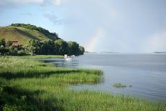 Volga River nära den Vinnovka byn, Ryssland Arkivbilder