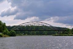 Volga River nära staden av Kineshma, Ivanovo region vidsträckthet Moln volga Ryssen landskap Royaltyfria Foton