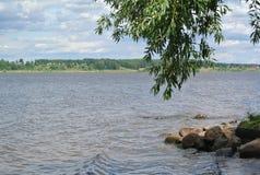 Volga River near the town of Kineshma, Ivanovo region. Vastness. Clouds. Volga. Russian landscape. Volga River near the town of Kineshma, Ivanovo region Stock Photography