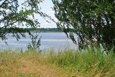 Volga River near the town of Kineshma, Ivanovo region. Vastness. Volga. Summer. Russian landscape. Stock Photos