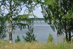 Volga River near the town of Kineshma, Ivanovo region. Vastness. Volga. Summer. Russian landscape. Volga River near the town of Kineshma, Ivanovo region Stock Image