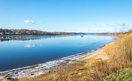 The Volga river near the town of Tutaev. Royalty Free Stock Photo