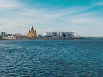 Volga river in Nizhny Novgorod Time-lapse. Beautiful view on Volga river in Nizhny Novgorod, Time-lapse 4k. Journey and travel, water transport concept stock video footage