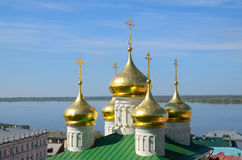 Volga river and old russian church Royalty Free Stock Image
