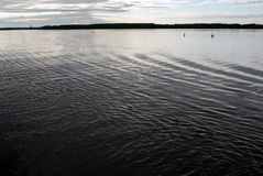 The Volga river panorama at evening. Royalty Free Stock Images