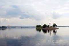 The Volga river panorama. Royalty Free Stock Photos