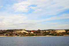 The Volga river panorama in a sunny autumn day. Royalty Free Stock Photo