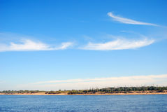 The Volga river panorama in a sunny day. Royalty Free Stock Images