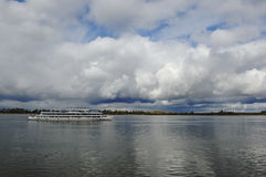 On the Volga River after the storm. Pleasure boat september2006 Royalty Free Stock Photo