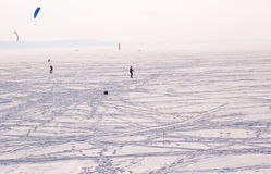 Volga River in winter, Russia Royalty Free Stock Photos