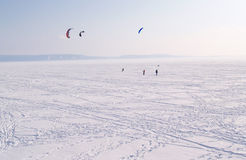 Volga River in winter, Russia Stock Images