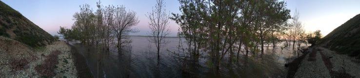 Volga riverside. Panoramic view of the Volga riverside in springtime Stock Photo