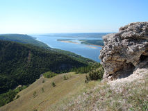 Volga to the mountains in summer sunny day Stock Images