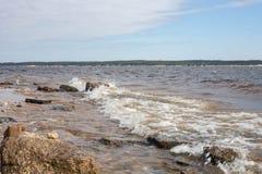 Volga in winderige ochtend stock foto