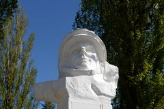 The monument to the first cosmonaut Yuri Gagarin in Volgodonsk. Royalty Free Stock Photography