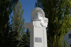 The monument to the first cosmonaut Yuri Gagarin in Volgodonsk. Royalty Free Stock Photo
