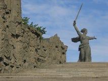 Volgograd. (Stalingrad). Monument to Motherland Russia on Mamaev Kurgan Royalty Free Stock Photo