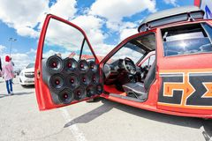 Car power music audio system. VOLGOGRAD - APRIL 21: Car with installed powerful subwoofer, amplifier and audio speakers to participate in car audio competitions stock photo