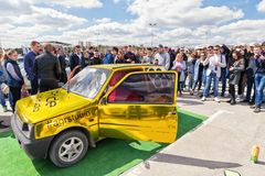 Car power music audio system. VOLGOGRAD - APRIL 21: Car with installed powerful subwoofer, amplifier and audio speakers to participate in car audio competitions stock images