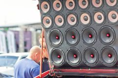Car power music audio system. VOLGOGRAD - APRIL 21: Car with installed powerful subwoofer, amplifier and audio speakers to participate in car audio competitions royalty free stock photos