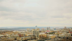 Volgograd Cityscape with roofs of houses and river stock video