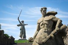 volgograd Den minnes- komplexa Mamaeven Kurgan arkivfoton