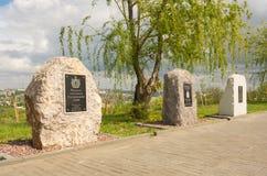 volgograd La Russia 9 maggio 2017 Il monumento agli eroi-Ryazanian'al cimitero commemorativo militare su Mamayev Kurgan a Volgogr immagine stock libera da diritti