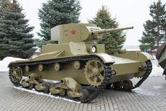 volgograd La Russie - 19 février 2017 Le réservoir léger soviétique T-26 Photo libre de droits