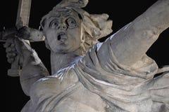 Volgograd. Mamayev Kurgan - historical memorial complex Motherland calls at winter. Close-up. Night view. 01.01.2017. Volgograd. Mamayev Kurgan - historical royalty free stock images