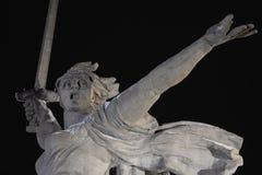 Volgograd. Mamayev Kurgan - historical memorial complex Motherland calls at winter. Close-up. Night view. 01.01.2017. Volgograd. Mamayev Kurgan - historical royalty free stock photos