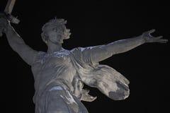 Volgograd. Mamayev Kurgan - historical memorial complex Motherland calls at winter. Close-up. Night view. 01.01.2017. Volgograd. Mamayev Kurgan - historical stock images