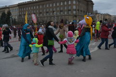 Volgograd, Maslenitsa 2017. Maslenitsa is an Eastern Slavic religious and folk holiday, celebrated during the last week before Great Lent. This is a traditional stock photo