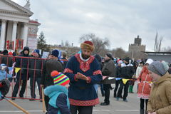 Volgograd, Maslenitsa 2017. Maslenitsa is an Eastern Slavic religious and folk holiday, celebrated during the last week before Great Lent. This is a traditional stock photos
