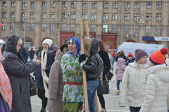 Volgograd, Maslenitsa 2017. Maslenitsa is an Eastern Slavic religious and folk holiday, celebrated during the last week before Great Lent. This is a traditional royalty free stock image
