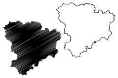 Volgograd Oblast mapy wektor ilustracja wektor