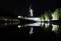 Volgograd Rosja, Lipiec, - 11 2018: Widok na statui wymieniał krajów ojczystych wezwania na Mamayev Kurgan w Volgograd zdjęcie royalty free