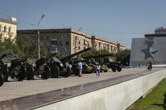 Volgograd, Russia - 5 agosto 2018: Volgograd è una città dell'eroe Ogni via ricorda a delle battaglie passate fotografie stock