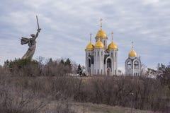 Volgograd. Russia-1 April 2017. Building of the temple All Saints at Mamayev Kurgan in Volgograd royalty free stock image