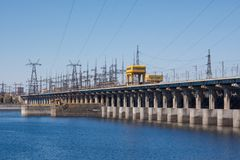 Volgograd. Russia - 16 April 2017. The dam of the Volga hydroelectric power station without water discharge.  Stock Photo
