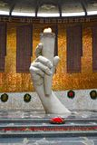 VOLGOGRAD, RUSSIA. An eternal flame in the Hall of Military glory. Mamayev Kurgan. VOLGOGRAD, RUSSIA - APRIL 23, 2017: An eternal flame in the Hall of Military Stock Photography