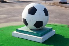 Soccerball on a pedestal Stock Image