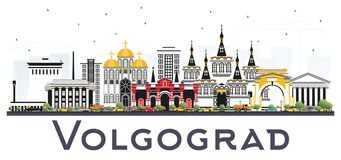 Volgograd Russia City Skyline with Color Buildings Isolated on W Stock Photo