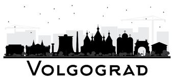 Volgograd Russia City Skyline Silhouette with Black Buildings Is Stock Photography