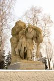 """Volgograd. Russia - February 3, 2019. The sculptural composition """"a girl-nurse, carrying a seriously wounded soldier out of the royalty free stock photo"""