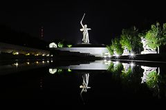 Volgograd, Russia - July 11 2018: View on the statue named The Motherland Calls on Mamayev Kurgan in Volgograd. The tallest sculpture of a woman in the world royalty free stock photo