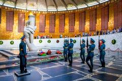 VOLGOGRAD, RUSSIA - 26 MAY 2019: Guards of honour and Eternal Flame in Volgograd. Memorial, russian, stalingrad, mamaev, military, war, kurgan, memory, world stock photo
