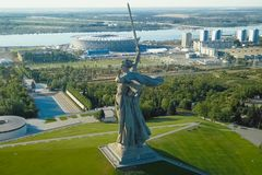 Statue of Motherland in Volgograd. View from the drones close. Victory Monument. Volgograd, Russia - May 14, 2018: Statue of Motherland in Volgograd. View from royalty free stock photo