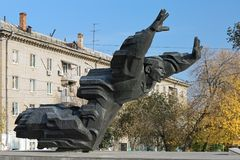 Mikhail Panikakha monument in Volgograd, Russia Stock Photos