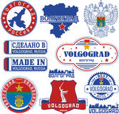 Volgograd, Russia. Set of stamps and signs Royalty Free Stock Images
