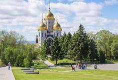 volgograd Ryssland - Juni 3rd 2017 Helgonen för kyrka allra på Mamayev Kurgan i Volgograd Royaltyfria Bilder